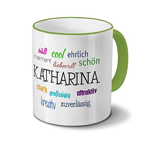 printplanet Tasse mit Namen Katharina - Positive Eigenschaften von Katharina - Namenstasse, Kaffeebecher, Mug, Becher, Kaffeetasse - Farbe Grün