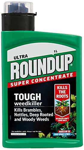 Roundup 117900 Tough Weedkiller, Concenrate, Makes up to 100 Litres, 1 Litre