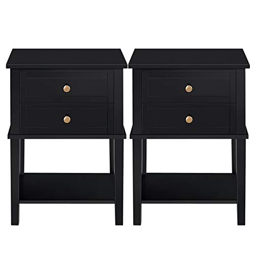 YAHEETECH Nightstands with 2 Drawers and Open Shelf Tall End Table Wood Cabinet Sofa Bed Side Storage for Bedroom Living Room, Set of 2, Black