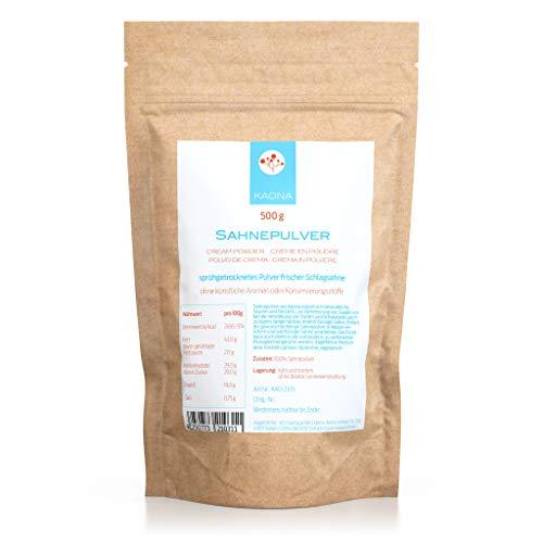 Sahnepulver 500g - 42% Fett - für Kuchen, Schokolade, Saucen - ohne Zucker - im wiederverschließbaren Standbodenbeutel von Kaona