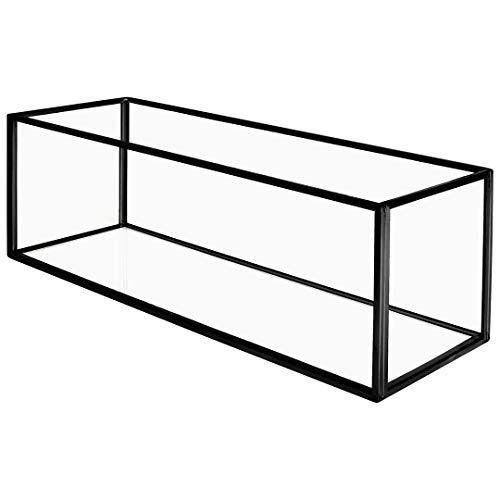 Koyal Wholesale Long Glass Candle Holder Centerpiece Box, Black 12 x 4 x 4 Inches, Centerpiece Tray Decor, Long Wedding Table Centerpiece Decorations