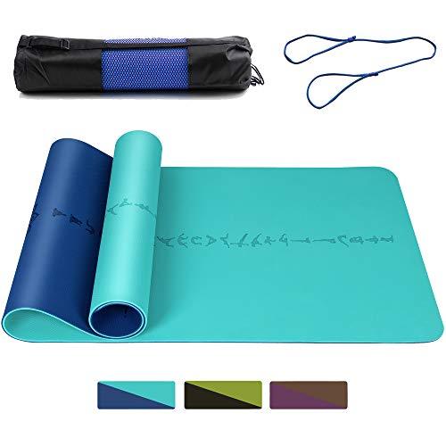 DAWAY Breite Dicke TPE Yogamatte - Y9 Umweltfreundliche Yoga Matte, rutschfeste Pilates Matten, Doppelseitiges Körperausrichtungssystem, Reißfest, mit Tragetasche, 183 x 66 x 0,6 cm, 1 Jahr Garantie