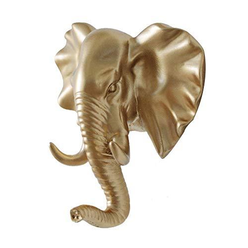 Schlüsselhaken, Vintage-Stil, Kunstharz, Tierkopf, Wandmontage, 3 Stück, Vinyl + Harz., gold, Elephant head
