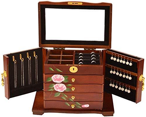 AGWa Schmuckschatullen damen/handgemalte vintage schmuckschatulle, klassische, große kapazität, massivholz produktion, schönes schloss/sammlung und geschenk beste wahl, weiß,Braun