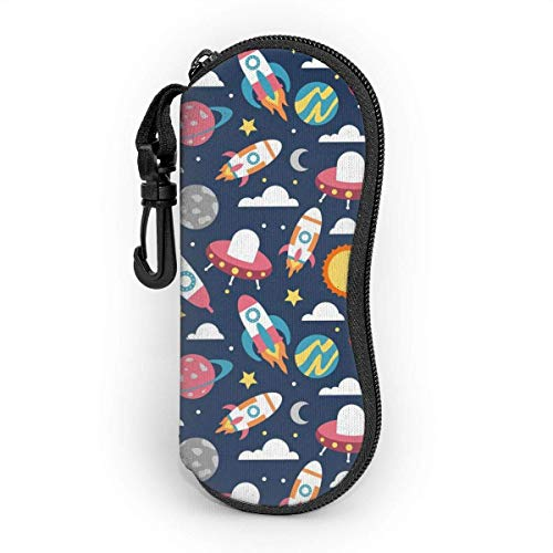OKIJH Glasses Case with Carabiner,Space Rocket And Planet Colorful Seamless Pattern Ultra Light Portable Neoprene Zipper Sunglasses Soft Case