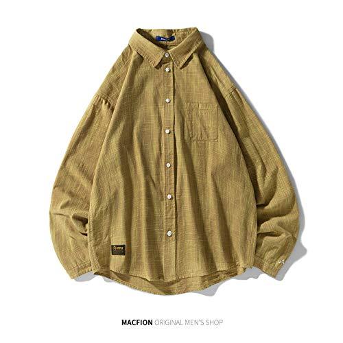 WSDMY Sweatshirt Hemd Hose Stoffhemd Feines Hemd Männer Gezeiten Jugend Retro Trend Lässig Lose Ulzzang Männlich 170 / M (M-C1856B) Gelb