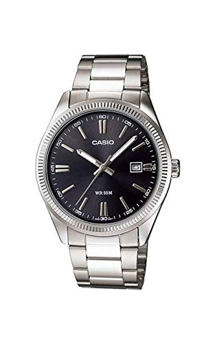 Casio MTP1302D-1A1V Men's Classic Stainless Steel Date Black Dial Analog Watch
