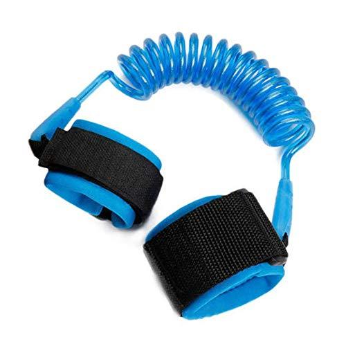 1.5 m ajustable para niños, niños, anti-perdida, pulsera de eslabones, brazalete, pulsera, seguro para el arnés del bebé, correa, cuerda, correa, azul