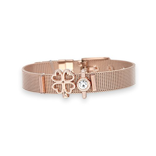 URBANHELDEN - Mesharmband - LUCKY ONE - aus Edelstahl - Mesh Charm Armband - Charms austauschbar - Größen verstellbar - Damenarmband Charmband - LUCKY ONE Roségold