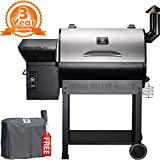 Z GRILLS ZPG-7002E 2019 New Model Wood Pellet Grill & Smoker, 8 in 1 BBQ Grill Auto Temperature Control, 700 sq inch Cooking Area, Silver