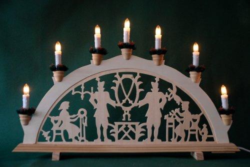 yanka-style Schwibbogen Lichterbogen Leuchter Bergleute traditionelles Motiv 7flammig Weihnachten Advent Geschenk Dekoration (10489)