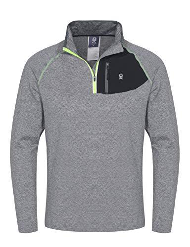 Little Donkey Andy - Camiseta de running para hombre, media cremallera, cuello alto, manga larga, XXL, Gris claro