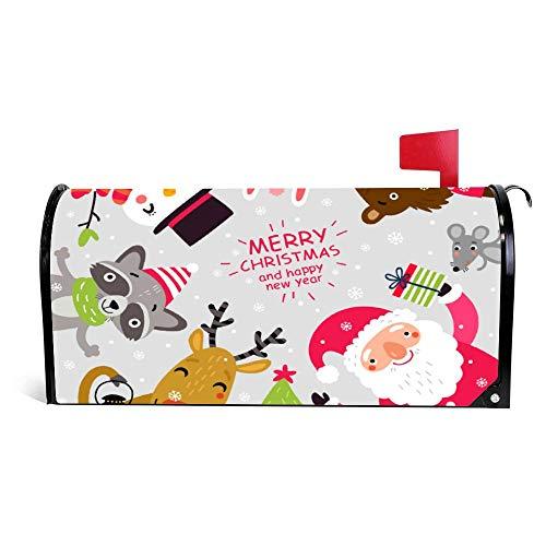 wendana Kerstman en dieren kerstkaart postbus Cover Magnetische Vinyl Thuis Tuin Decor Postbus Wikkel Brievenbus Doos Cover 18