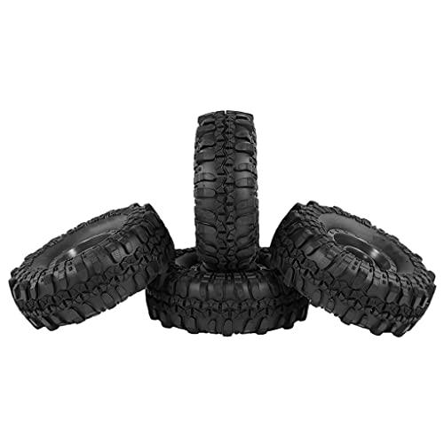 FITYLE Llanta Negra y neumáticos 1:24 Coche de orugas Todoterreno para reemplazo SCX24, Paquete de 4