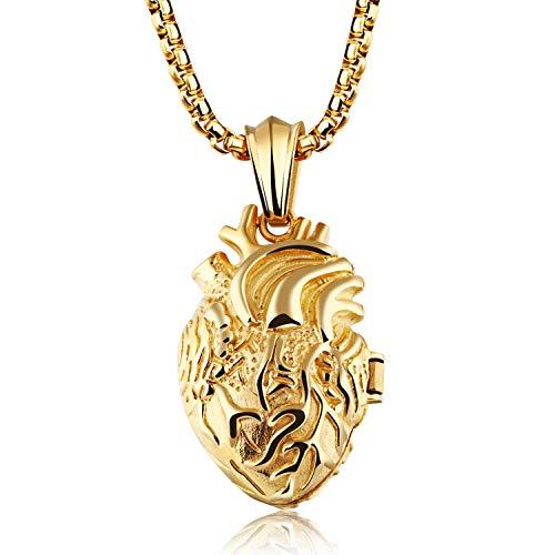 Cupimatch Collana Uomo Pendente Ciondolo Cuore Organo Anatomico Apribile Catena Acciaio Inossidabile Oro