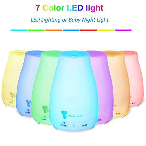 Diffuserlove 220ML Aroma diffuser Ultraschall Luftbefeuchter Tragbarer Öl Diffusor Cool Mist Humidifier mit 7 Farben LED und AUTO-Abschaltung Funktion,Snthrazitgrau