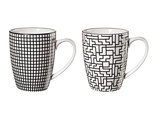 ASA 90904071 Maori - Henkelbecher - Porzellan - schwarz/weiß - 2 er Set - Ø 8 cm - Höhe 10,5 cm - 0,2l, 4,0 von 5 Sternen 6
