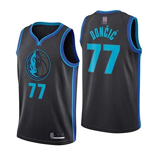 Camisetas De Baloncesto para Hombre, NBA Dallas Mavericks # 77 Luka Doncic - Chalecos Sin Mangas Transpirables De Comodidad Clásica Tops Camisetas Uniformes,Negro,L(175~180CM)