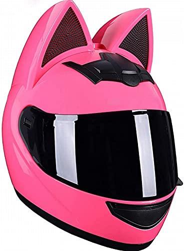 Cascos de Moto con Orejas de Gato de Cara Completa para Mujer, Viseras Abatibles para Adultos Casco de Motocross Casco Modular de Choque de Moto Diseño Ligero Certificado ECE F,XL(60-62)