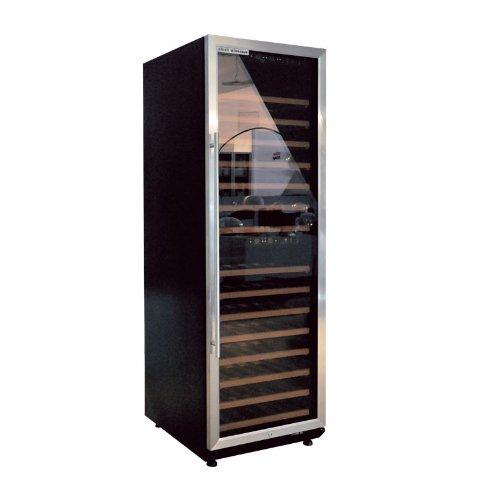 plenti WEIN CASE - Weinkühlschrank 450l mit 15 Regalböden und 2 Klima-Zonen schwarz/chrom