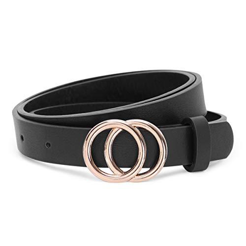 JasGood Gürtel zwei Ringen Gürtel Damen Stilvoll Gürtel Robuster Gürtel mit Eisenschnalle Einfacher Stil Einzigartig gürtel Vintage und Modisch, B-schwarz-goldene Schnalle, XS-95cm(24-28 zoll)