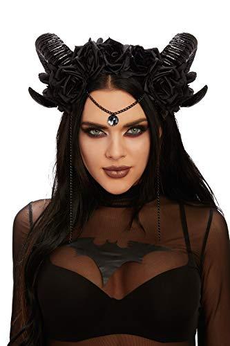 Dreamgirl Women's Mystical Ram's Horn Headpiece, Black, One Size