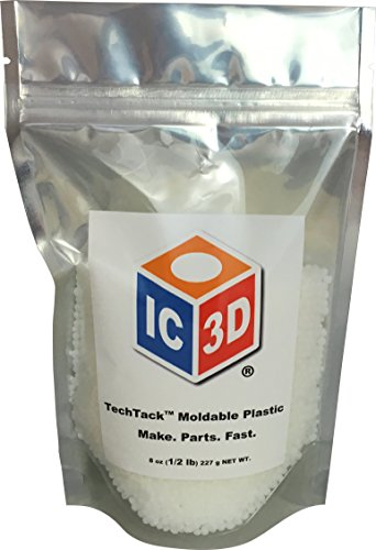 IC3D TechTack Moldable Plastic Pellets PCL  8 Oz 05lb Resealable Bag  Professional Grade Low Temp Melting Plastic