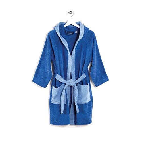 Viglietti Caleffi Peignoir pour enfant en tissu éponge double torsadé 100 % coton 400 g/m² – Boîte cadeau – (12/14 ans Bleu)