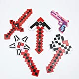 Set of 5 DIAMOND Pixel Weapons LED Light Up Pixel Battle Toy for Boys and Girls - 8 Bit Pistol Deluxe STYLE with LED Light up and FX Sounds -Sword Axe Pickaxe Star and Gun-3 Colors for Chioce (Red)