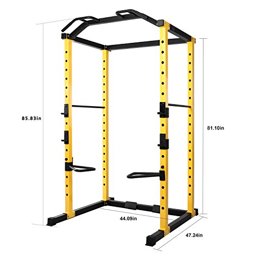 Product Image 4: HulkFit 1000-Pound Capacity Multi-Function Adjustable Power Cage with J-Hooks and Dip Bars, Power Cage Only, Yellow