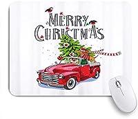 EILANNAマウスパッド メリークリスマス赤レトロトラックモミの木ダックスフント ゲーミング オフィス最適 高級感 おしゃれ 防水 耐久性が良い 滑り止めゴム底 ゲーミングなど適用 用ノートブックコンピュータマウスマット
