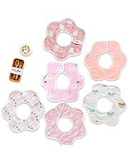 (6枚入り)Hapipana 6重綿100%製赤ちゃん花びら型よだれかけ食事用エプロンスタイ360°回転出産のお祝いギフト