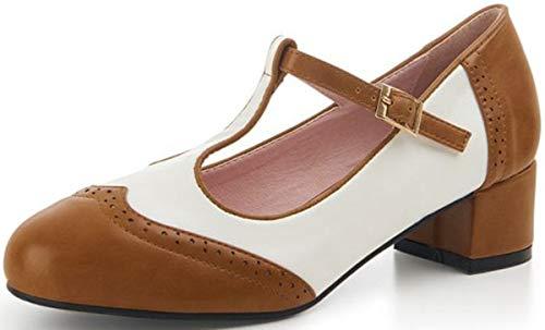 Lulu Hun Damen Schuhe Georgia Budapester Mary Jane Pumps Geschlossen (36 EU, Braun/Weiß, Numeric_36)