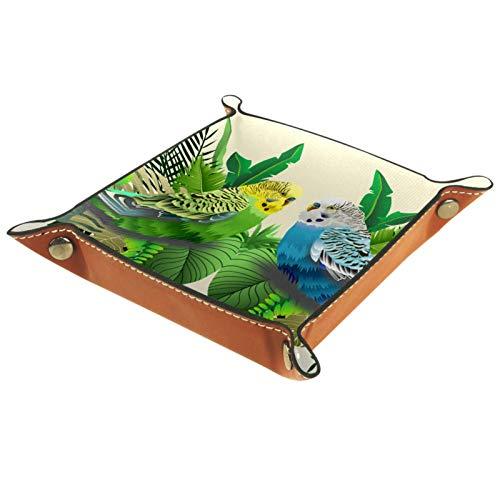 AITAI Bandeja de valet de cuero vegano organizador de mesita de noche plato de almacenamiento Catchall verde y azul cochecito en hojas