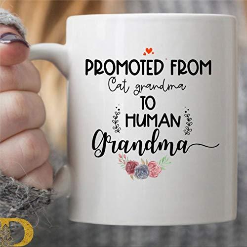 Divertida taza de café para abuela, diseño de gato y abuela, taza de té de cerámica, regalo de Navidad y cumpleaños para hombres y mujeres