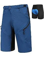 Priessei Mens Mountain Bike Biking Shorts Lightweight MTB Cycling Shorts with Zip Pockets