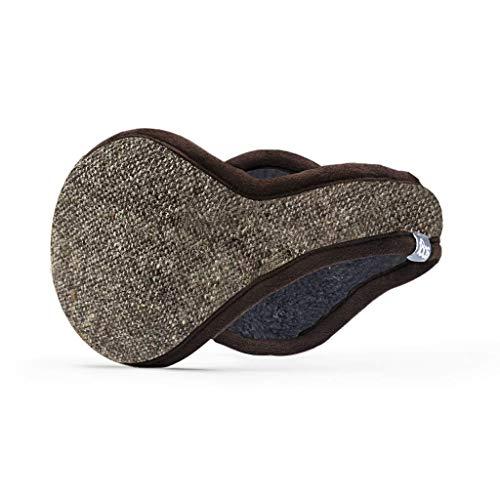 180s Men's American Wool Behind-the-Head Ear Warmer | Premium Winter Earmuffs (Brown Tweed, Wool)