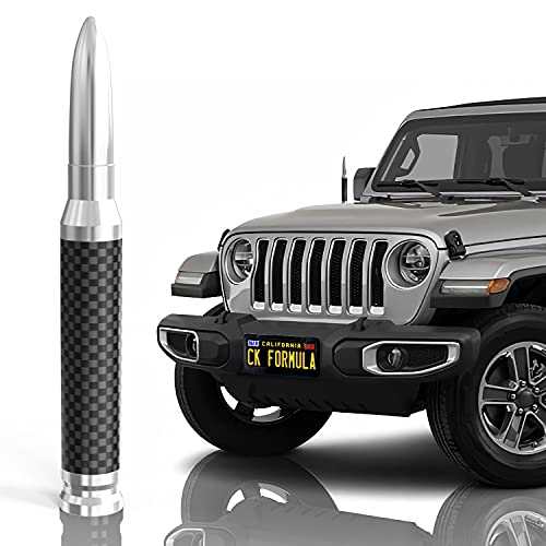 "CK FORMULA 50 Cal Bullet Antenna for SUV - Carbon Fiber 5.5"" Silver Automotive Antenna Replacement, AM/FM Radio Compatible, Solid 6061 Aluminum Grading, Anti Theft Design, Car Wash Safe, 1 Piece"