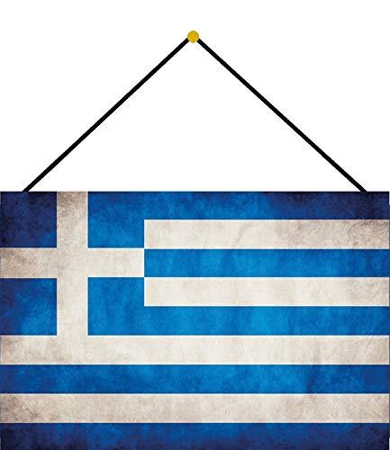 FS Land Flagge - Bandera de Grecia (chapa arqueada, 20 x 30 cm, con cordel)