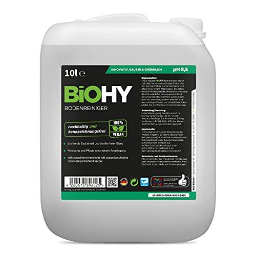 BiOHY Bodenreiniger (10l Kanister) | Konzentrat für alle Reinigungsgeräte und alle Hartböden | Angenehmer Geruch und streifenfreie Reinigung