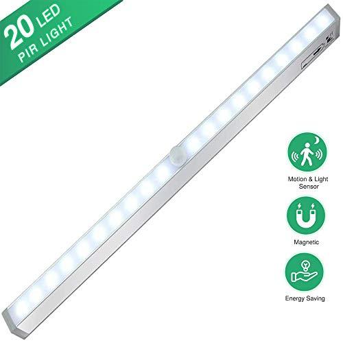 Luz de clóset con sensor de movimiento, luz nocturna LED para debajo del armario, funciona con pilas, 20 LED portátiles con tira magnética de 3 m para cocina, cajón, pasillo, iluminación de maletero