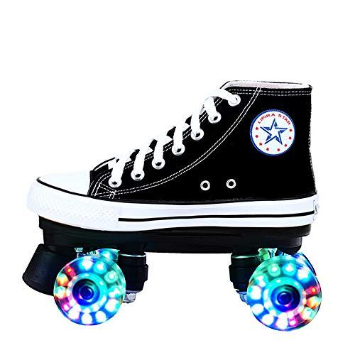 Led Quad Skates Schuhe Herren Rollschuhe Mädchen Damen Skates Blades Rollerskates Für Erwachsene Kinder Jungen Mädchen Retro Design Mit Buntem Lichtrahmen,LEDBlack-43