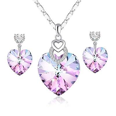 PLATO H Heart Shape Jewelry Set Heart Necklace Earring Woman Fashion Jewelry Set