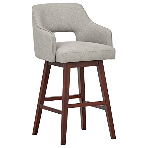 Marca Amazon -Rivet Malida - Taburete de bar con asiento giratorio y respaldo abierto estilo Mid-century, 104,1 cm de alto (gris fieltro)