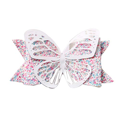 niumanery Toddler Kids Hollow Butterfly Bows Alligator Hair Clip Gradient Colored Sequins Hairgrip Princess Boutique Barrettes Photo Props 5#