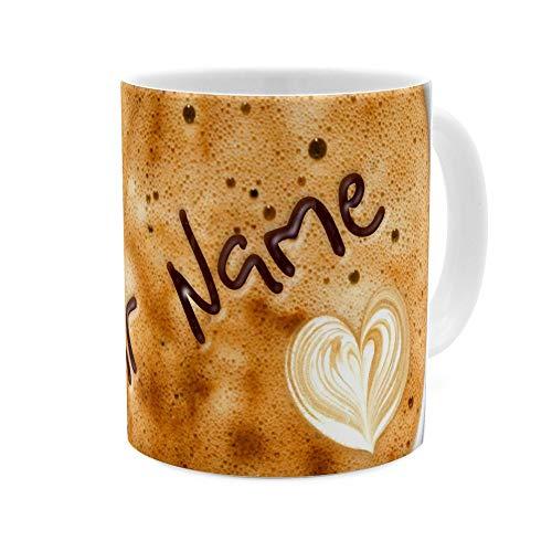 printplanet - Tasse mit Namen personalisiert - Motiv: Kaffeeschaum - individuell gestalten - Farbvariante Weiß