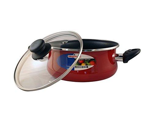 Magefesa Praga - Cacerola con tapa 24cm de acero vitrificado exterior rojo. Antiadherente bicapa reforzado, aptas para todo tipo de cocinas, especial inducción. 50% de ahorro energético.