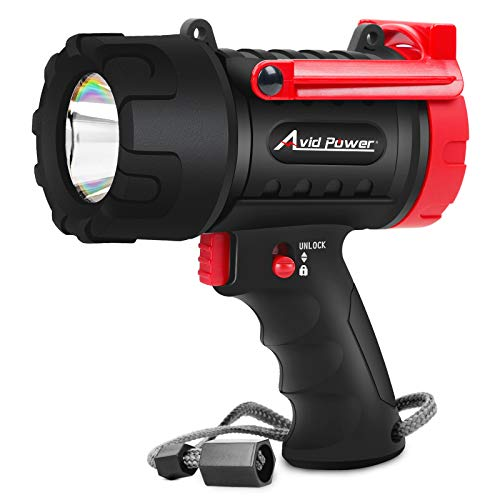 Waterproof Spotlight Rechargeable Flashlight Handheld with 3 Light Modes, USB Cable, Wall and Car Charging, 900 Lumen LED, Lightweight and Durable, Avid Power