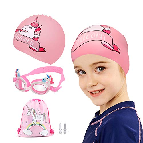 TCJJ Swim Cap with Swimming Goggles and Storage Bag for Kids(Age 3-12), Silicone Waterproof Swimming and Bathing Caps for Long and Short Hair Girls Boys Toddler Teens(Unicorn