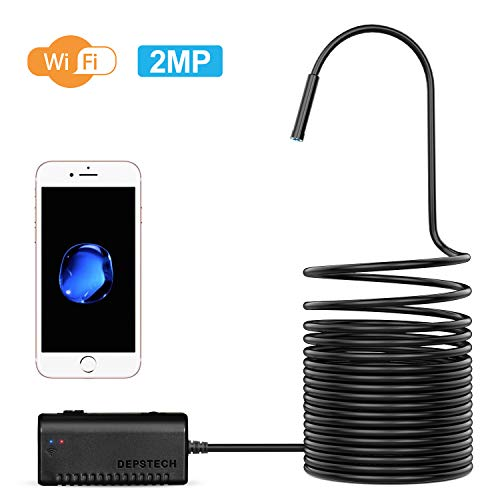 DEPSTECH Endoscoopcamera WiFi Endoscoop 2.0 Megapixel HD Inspectiecamera Snake Camera, IP67 Waterdicht voor Android, iOS-Smartphone, iPhone, Samsung, Tablet - Zwart (3,5M)